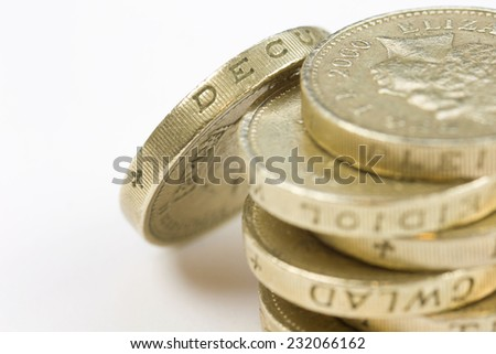 Stack of One pound coins on a white background - stock photo