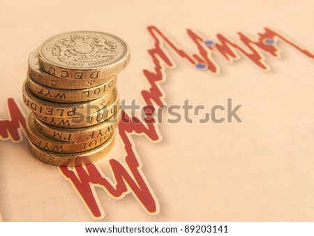 stack of one pound coins on fluctuating graph with space for copy