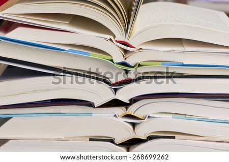 Stack of Open Books - stock photo