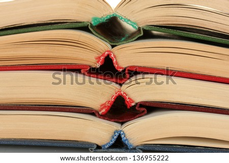 stack of open books close-up - stock photo