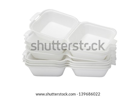Stack of Open Styrofoam Boxes on White Background