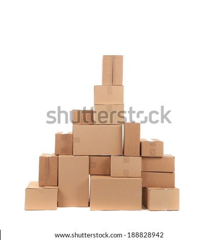 Stack of opened cardboard boxes. Isolated on a white background. - stock photo