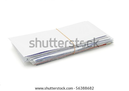 Stack of opened envelopes tied with rubber band