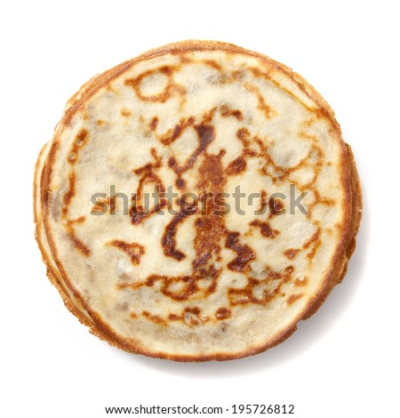 Stack of pancakes on a plate isolated over white
