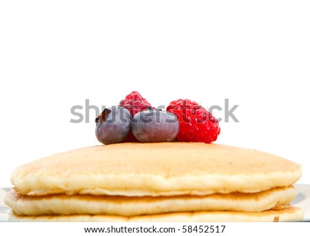 Stack of pancakes without maple syrup - stock photo