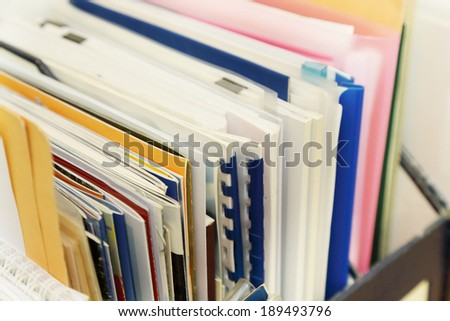 stack of paper and socuments in the office - stock photo