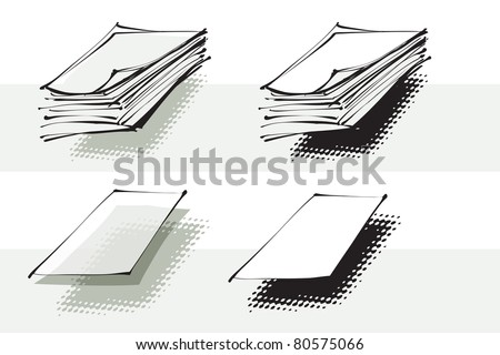stack of paper, document icons (raster version) - stock photo