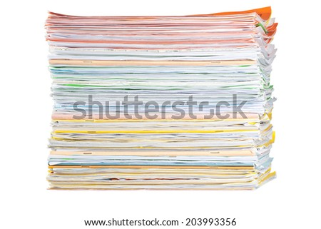 Stack of paper isolated on white background  - stock photo