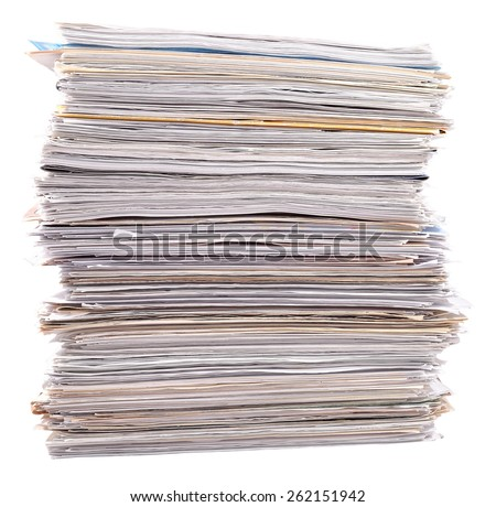 Stack of paper on a white background  - stock photo