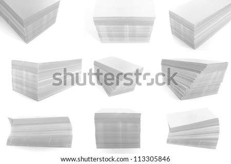 stack of paper on the white background. - stock photo