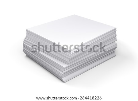 Stack of papers on white background, 3d illustration