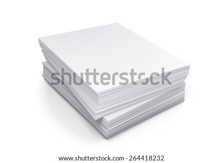 Stack of papers on white background, 3d illustration - stock photo
