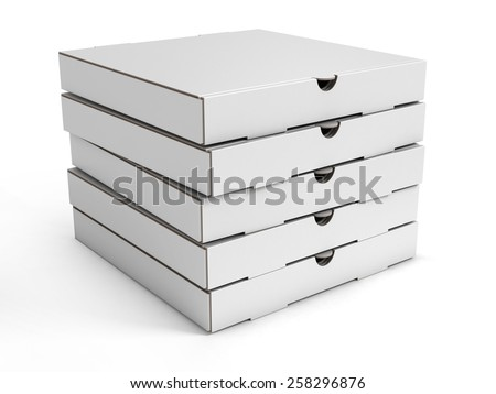 stack of pizza boxes - stock photo