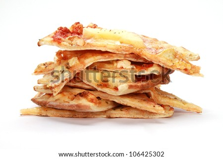 stack of pizza slices on a white background
