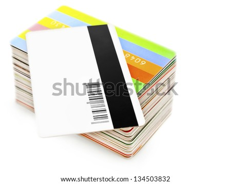 stack of plastic cards - stock photo
