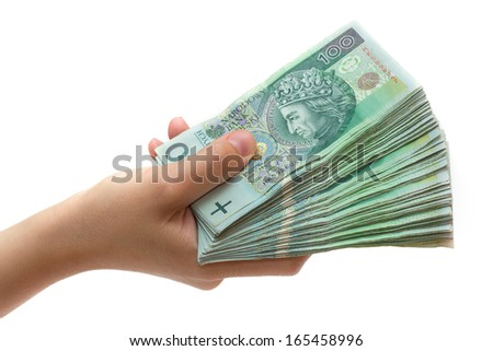 stack of polish banknotes in hand - 100 PLN - on white background - stock photo