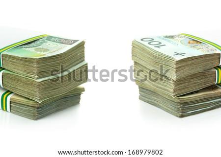 Stack of polish zloty banknotes - stock photo