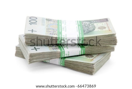 Stack of polish zloty with clipping path - stock photo