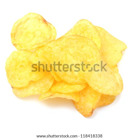 Stack of potato chips isolated on white background