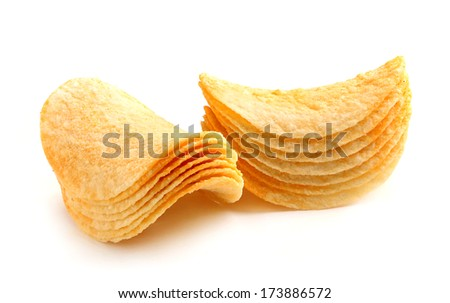 Stack of potato chips isolated on white background.