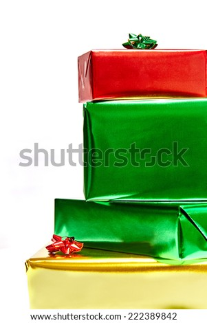 Stack of presents on white background, front view - stock photo