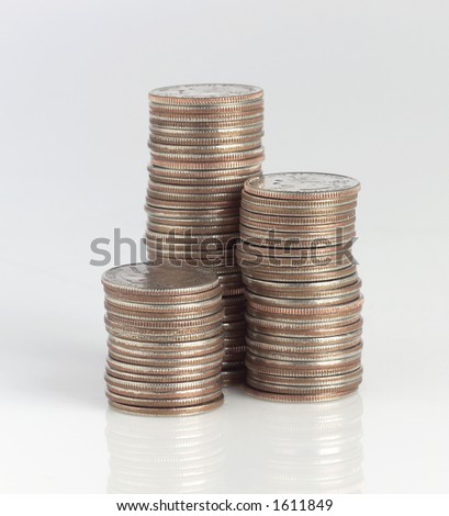 Stack of quarters - stock photo