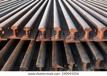 Stack of railway rail. - stock photo