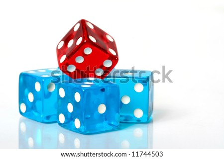 Stack of red and blue dice on a white background - stock photo