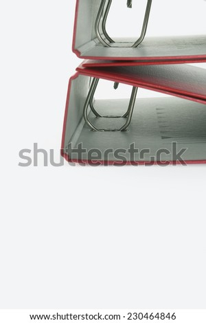 Stack of Red Binders - stock photo