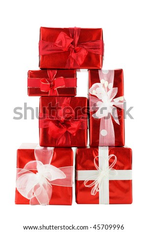 Stack of red Gift Boxes on White Background - stock photo