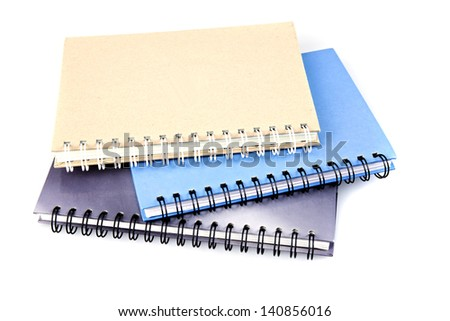 Stack of ring binder book or notebook isolated on white - stock photo