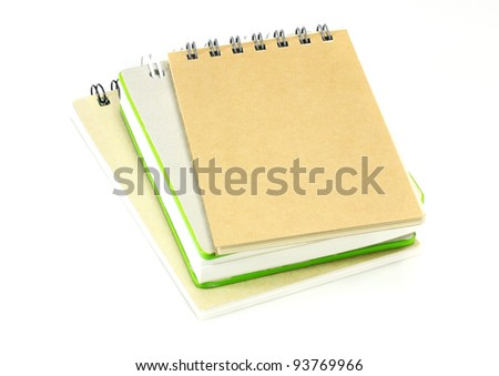 stack of ring binder book or notebook on white - stock photo
