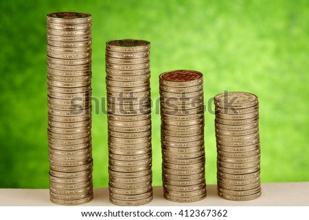 Stack of rupee coins - stock photo