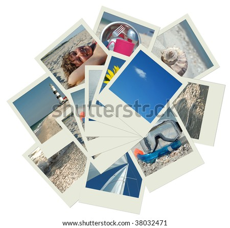 Stack of shots with vacation travel photos - stock photo