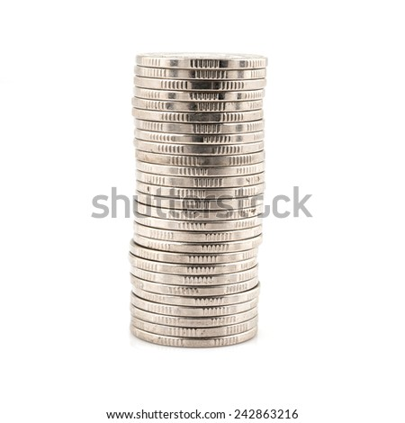 Stack of silver coins isolated on a white background - stock photo