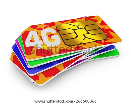 stack of sim cards with the inscription 4g on a white background - stock photo