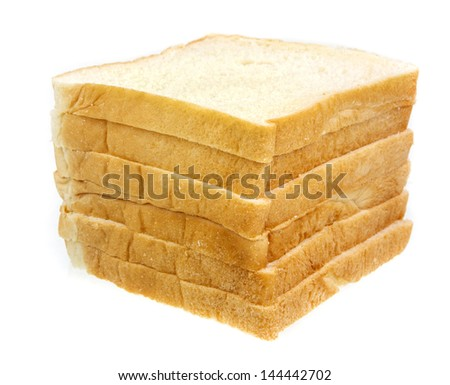 Stack of slice bread on white background