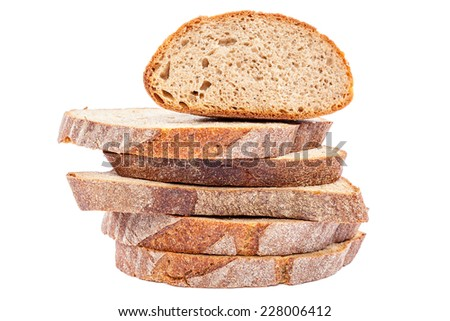 Stack of slices of bread isolated on white background. - stock photo