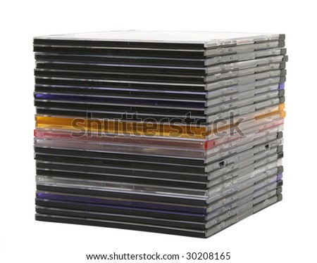 Stack of slim CD/DVD case isolated on white - stock photo