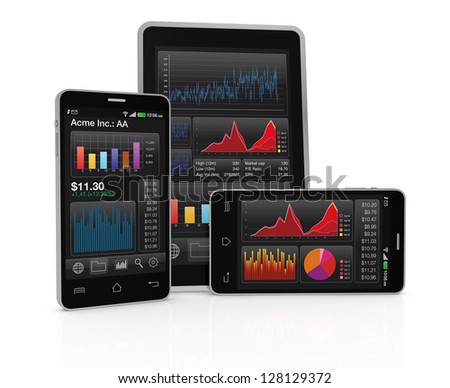stack of smartphones with gps map and a pointer (3d render) - stock photo