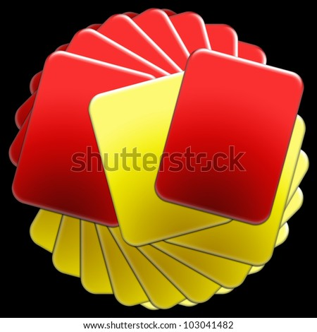 Stack of Soccer Referee Cards - stock photo