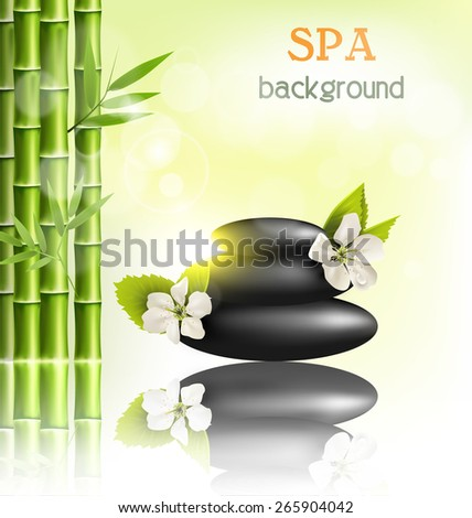 Stack of spa stones with cherry white flowers sunlight and bamboo with reflection on light-green background - stock photo