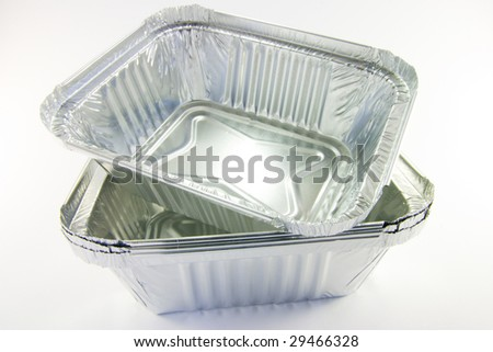 stack of square catering trays - stock photo