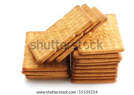 Stack of square crackers isolated on white background.