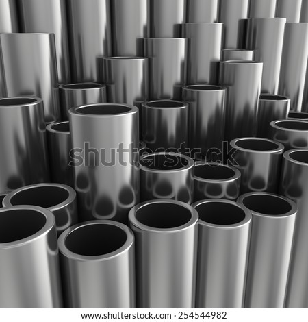 Stack of steel pipes. 3d rendering illustration. - stock photo