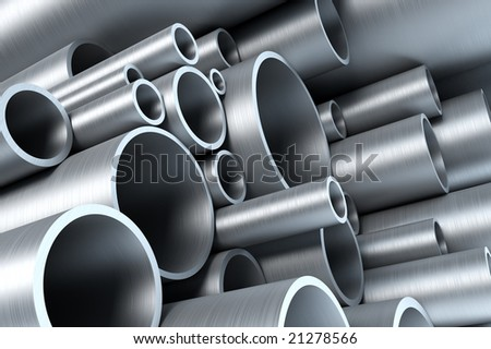 stack of steel tubing 3d rendering - stock photo
