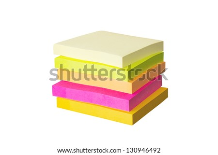 Stack of sticky notes isolated on white background - stock photo
