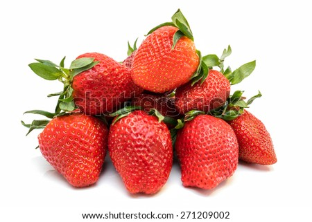 Stack of Strawberries Isolated on White Background - stock photo