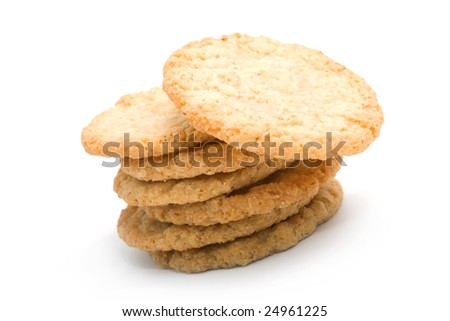 stack of sugar cookies on white background