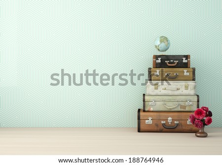 Stack of suitcases - stock photo
